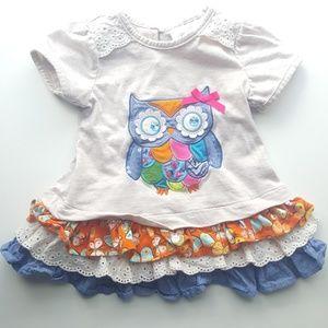 Rare Editions Owl Toddler Ruffle Short Sleeve Top
